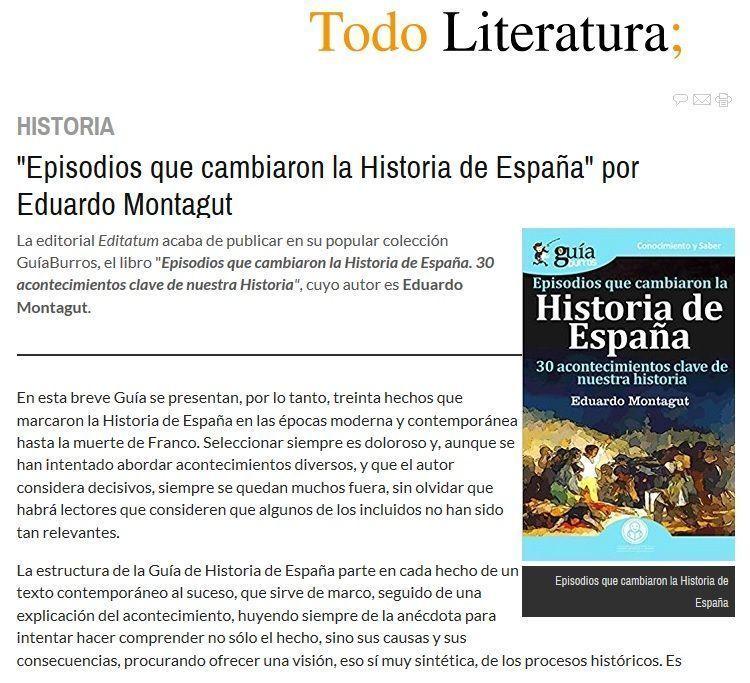 Eduardo Montagut en Todo Literatura